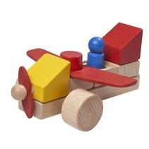 vliegtuig 16 cm hout multicolor