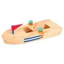 houten boot 15,5 cm blank met rode vlag