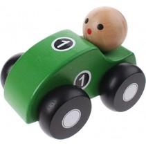 houten raceauto groen 10 cm