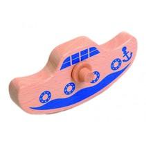 blauw bootje 14 cm hout