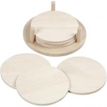 houten versierbare schijven met houder 6 stuks