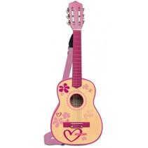 houten gitaar met 6 snaren en schouderband 75 cm roze