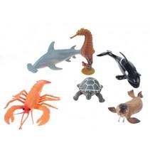 speelset zeedieren 6-delig 12 cm