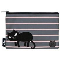 etui Ed the Cat strepen junior 22,5 cm grijs/zwart