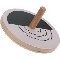houten tol met optische illusie 5 cm wit/zwart