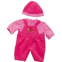 kledingset 30-36 cm roze 3-delig