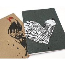 schrift kip leren kaft zwart 15x21 cm