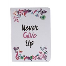 schrift never give up wit 14 cm