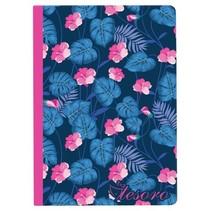 schrift bloem blauw/ fuchsia 17 cm
