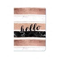schrift hello bruin/wit/zwart 14 cm roze
