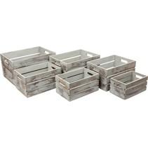 opbergboxen Vintage Grey hout 40-25 cm 6-delig