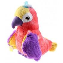 papegaai Big Eye junior 43 cm pluche roze/paars/geel