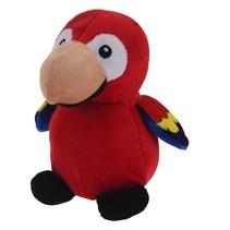 knuffel papagaai 14 cm rood