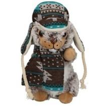 knuffel otter met muts en sjaal grijs 19 cm
