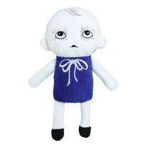 knuffelpop junior 20 cm polyester donkerblauw/wit