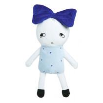 knuffelpop junior 20 cm polyester blauw/wit
