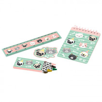 schrijfset Hello Pets papier groen/roze 24-delig