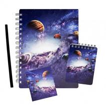 notitie-set Space junior papier blauw 4-delig