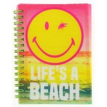 notitieboekje Smiley 15x10,5 cm roze/geel
