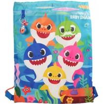 gymtas Baby Shark junior 30 x 40 cm lichtblauw