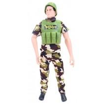 speelset Army soldaat met accessoires 8-delig 27 cm