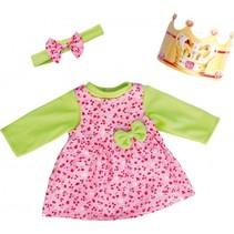 kledingset Birthday 46 cm roze/groen 3-delig