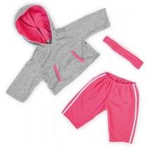 kledingset 46 cm grijs/roze 3-delig