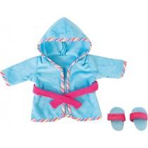 badjas met sloffen 38 cm blauw