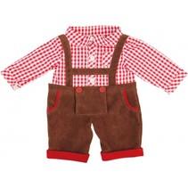 lederhose met blouse 38 cm bruin/rood