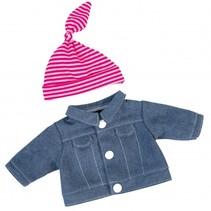 spijkerjack met muts babypop 20 cm blauw/roze