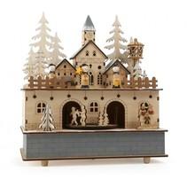 muziekdoos kerstdorpje met licht 24 x 21 cm