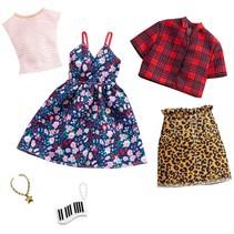 kledingset tienerpop rok en jurkje bloemen 2-delig