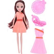 pop met extra jurk en acc. oranje/roze 23 cm 5-delig