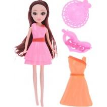 pop met extra jurk en acc. roze/oranje 23 cm 5-delig