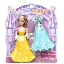 prinses met extra jurk blauw/geel 14 cm 2-delig