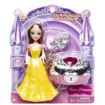prinses met schatkist geel 14 cm 3-delig
