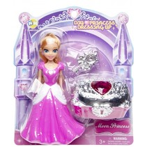 prinses met schatkist roze 14 cm 3-delig