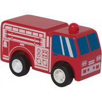 brandweerwagen Rescue pull-back 9 cm hout rood