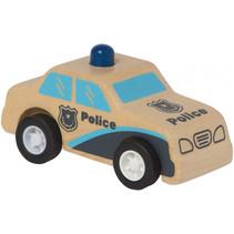 politieauto Rescue pull-back 9 cm hout blauw/naturel