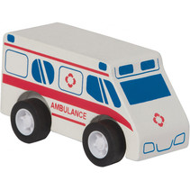 ambulance Rescue pull-back 9 cm hout rood/wit
