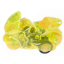 racemotor pull back jongens 5 cm geel/transparant