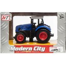 tractor Modern City pull back junior die-cast blauw