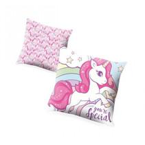 kussen eenhoorn meisjes 45 x 45 cm polyester roze