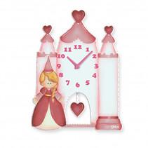wandklok prinsessenkasteel meisjes 25 x 33 cm hout roze