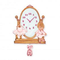 wandklok ballerina meisjes 28 x 43 cm hout roze/bruin