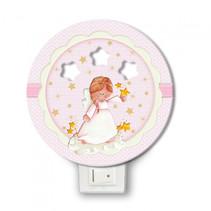 nachtlamp engel led meisjes 12 x 4 cm hout roze