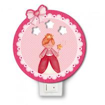 nachtlamp prinses led meisjes 12 x 4 cm hout roze