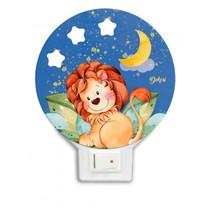 nachtlamp leeuw led junior 12 x 4 cm hout