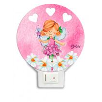 nachtlamp fee led meisjes 12 x 4 cm hout roze