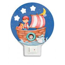 nachtlamp piratenboot led junior 12 x 4 cm hout